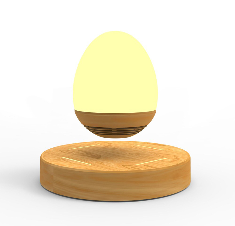 LED Bulb Portable Levitating Bluetooth Speaker Wood Base Floating Maglev Speaker