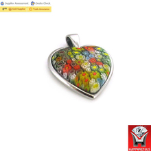 2016 cheap stainless steel silver pendant murano glass pendant