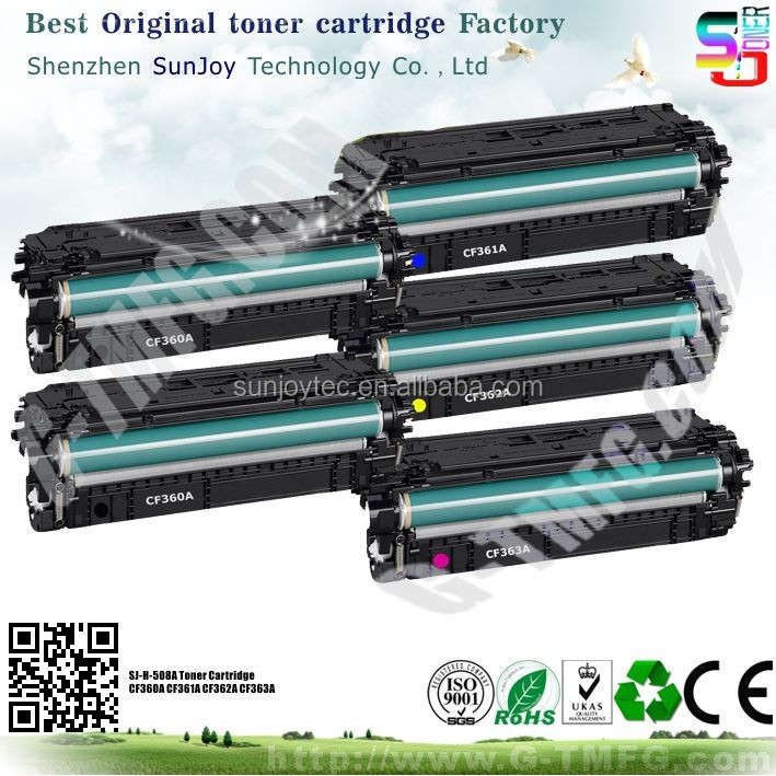 Sunjoy 508A recycled Laser Toner Cartridge CF360A for HP Color LaserJet Enterprise M552dn