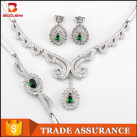 Alibaba France 2016 trending products rani haar designs women 925 silver jewelry set
