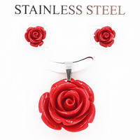 2015 charm fashion unique dark rose stainless steel necklace for women dress rose flower pendants Jewelry luxury brand