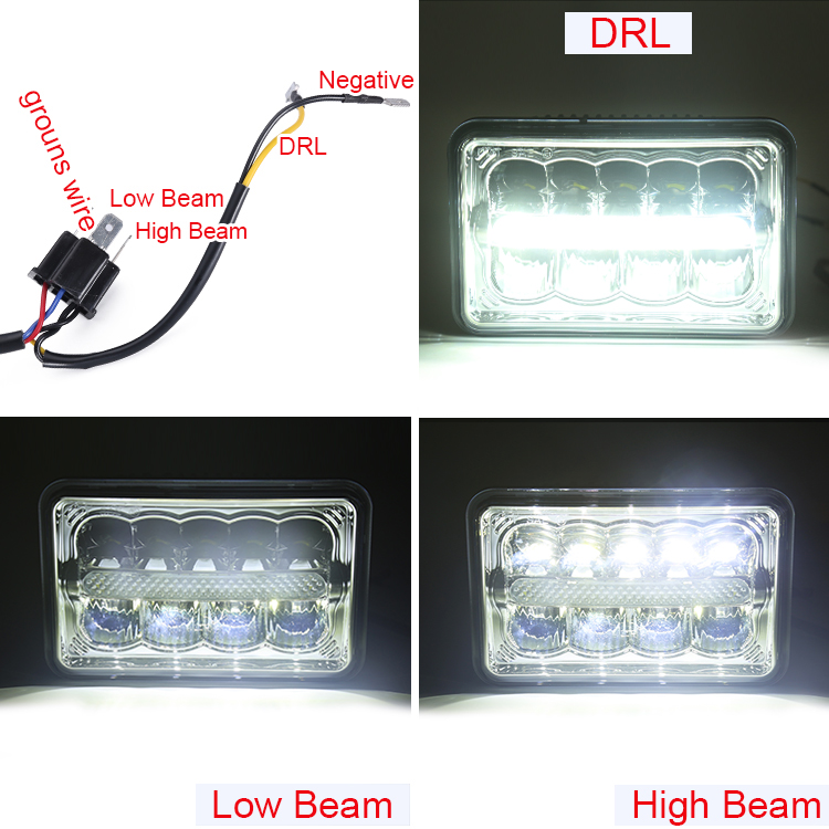 Great lighting 5 inch 45w 4000lumen high low beam 12v 24v 4x6 inch led headlight with DRL