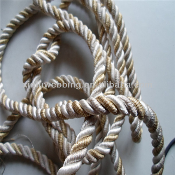 Golden polyester 3 strand twisted rope