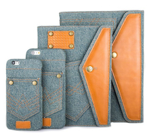 Fashion Jeans Cloth Leather Tablet Case Mobile Phone Case for Apple iPhone/ iPad Air/iPad 5