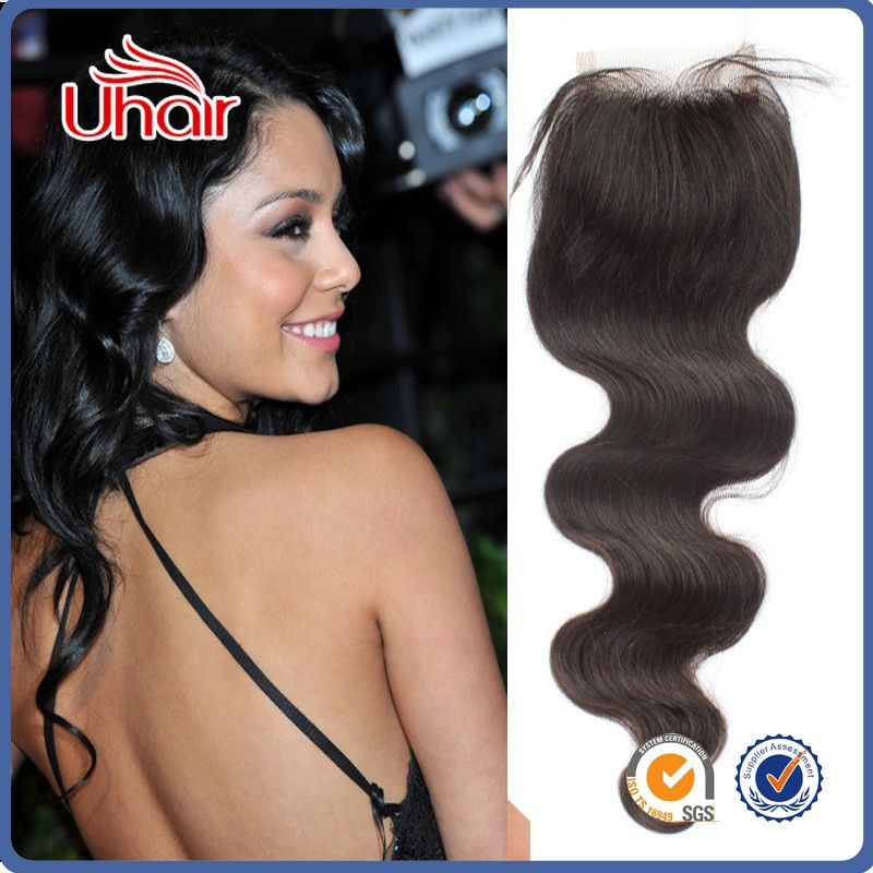"One Pcs Fast Shipping 3 Part Closure 8""-<strong>20</strong>""Body Wave Black Lace Closure 4""x 4""Brazilian Virgin Hair Top Front Swiss Lace Closure"