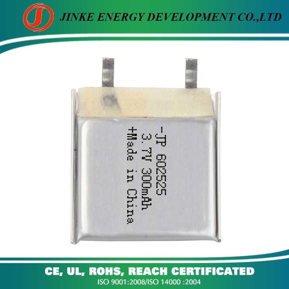 Jinke 602525 high quality 3.7v 300mah li-polymer rechargeable battery pack for gps tracker