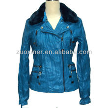 Wash wrinkle PU leather jacket for woman soft thin PU clothing