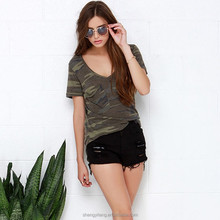 Girls sexy deep V neck camouflage/camo curved hem classic t shirt