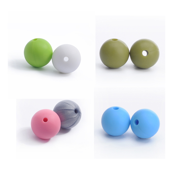 9mm 12mm 15 mm Donut Hole Round Beads Baby Teething Loose Beads Silicone Teething Beads
