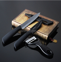 Super Quality Ceramic Knife Sets Kitchen Knife Black Blade 3pcs Gift Set 3 inch+5 inch+Peeler +Covers