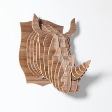 DIY Wood Rhino head Jigsaw puzzle piece