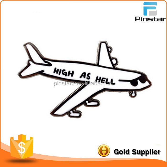 Die Casting Metal Type White And Black High As Hell Airplane Enamel Lapel Pins