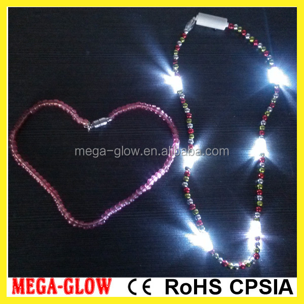 Wholesale LED mardi gras beads necklace in high quality mercury free battery
