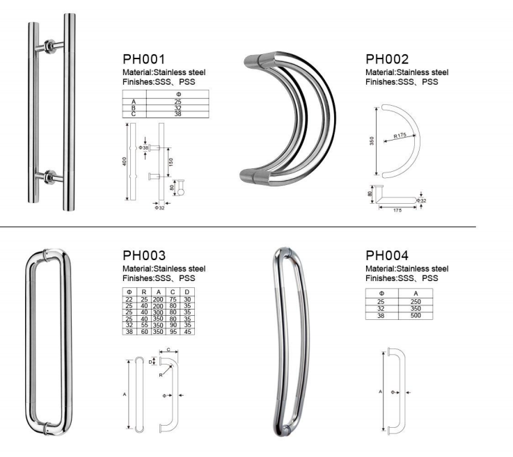 Pull Bathroom Handles Glass Sliding Door Handle