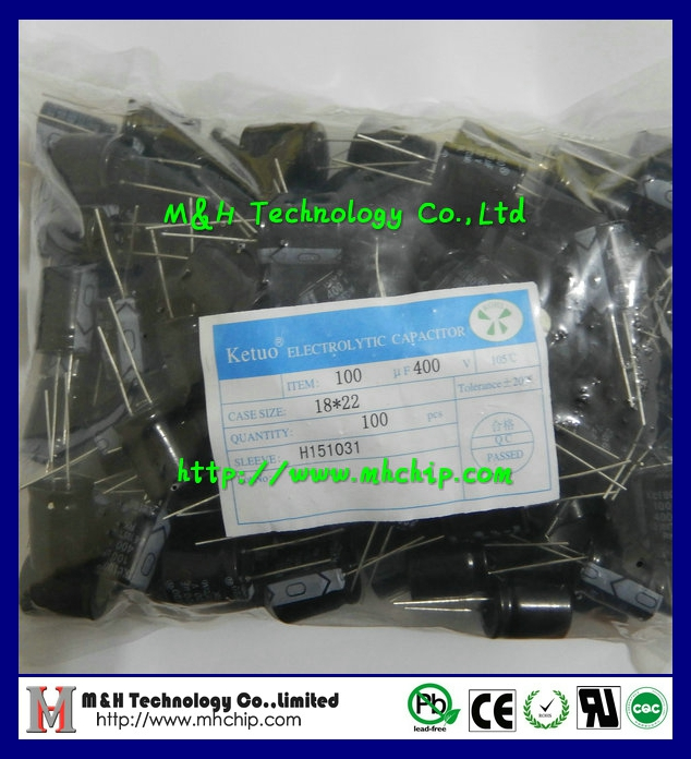 Length 22mm 100uF 400V axial electrolytic capacitor Aluminum