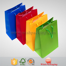Neon color printed fancy paper shopping bag