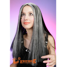 Grey color cosplay wig cheap synthetic hair wig