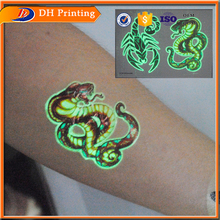 Custom Print Glow In The Dark Temporary Body Sticker Tattoo