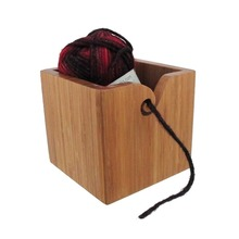 Wholesales New product Cube natural Color wooden and bamboo yarn bowl,wood for knitting and crochet