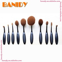 10pcs Synthetic Hair Oval Tooth Shaped Makeup Brush Set