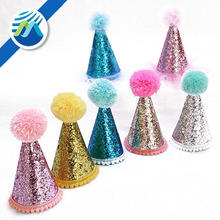 2018 Hot Sale Birthday Party Hat Cone Number Sequins Hats