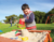 Large outdoor wooden sandpit with lid