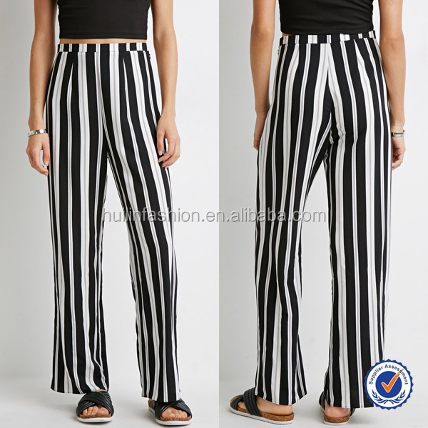 latest ladies trousers designs 100% rayon wide-leg black and white stripe pants