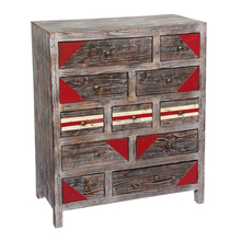 Multi-Drawer White Washed Chest,Reclaimed Wood Furniture