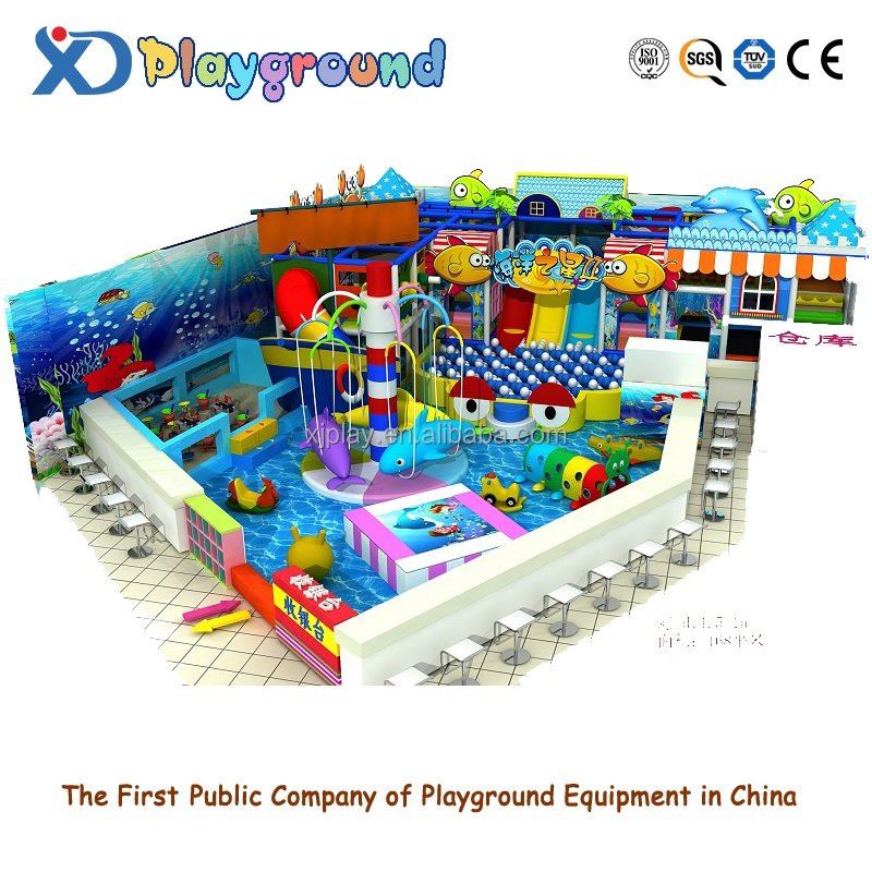 cheap price children soft play land kids paradise long slide sand pit tube slide school indoor playground for school play area