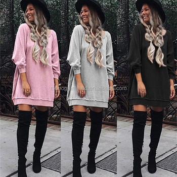 Long Sleeve Solid color Hoodies dress