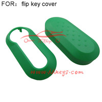 Cheap silicone car key cover 3 Button flip key case fits for Fiat 500 green color