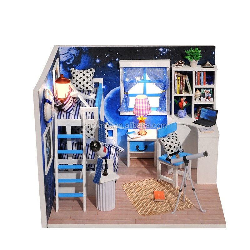 Wait Time DIY Model Dollhouse Wooden Furniture Kits Doll House Light Xmas Gift