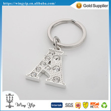 OEM and ODM good quality Letter A Crystal Metal Promotion Keyring