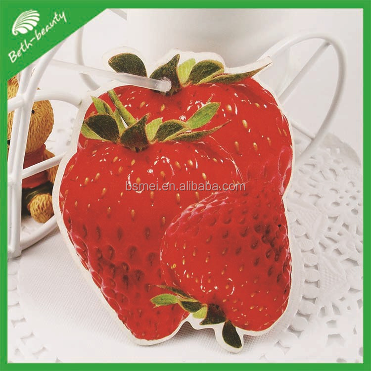 die cut strawberry shaped car air freshener, make hanging paper car air freshener