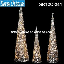 [2012 Hot New!] Golden glittering Xmas Christmas tree/ cone light with LED lights (Outdoor , MOQ: 200PCS , GS/CE/UL)