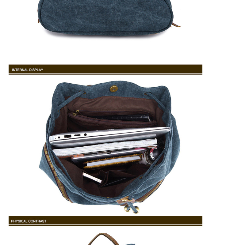 Wholesale vintage style teens cotton day backpack use canvas rucksack for high school