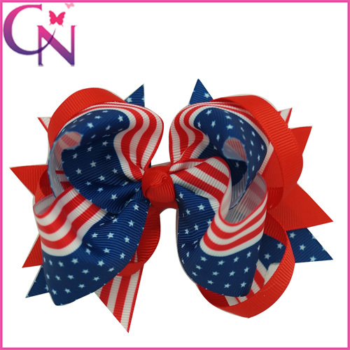 Wholesale 5 inch Grosgrain Ribbon Patriotic 4th of July Boutique Hair Bows