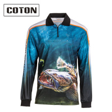 High quality wholesale polyester custom sublimation fishing shirt