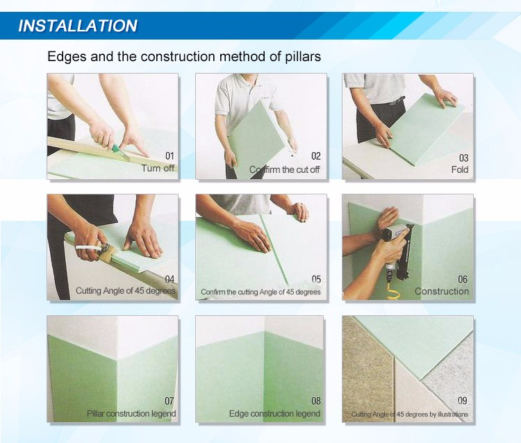 Fire rating ASTM E84 Class A Noise Mute Material PET Polyester Fiber Acoustic Panel