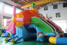 Adorable outdoor giant portable inflatable submarine bouncer castle inflatable water slide pool