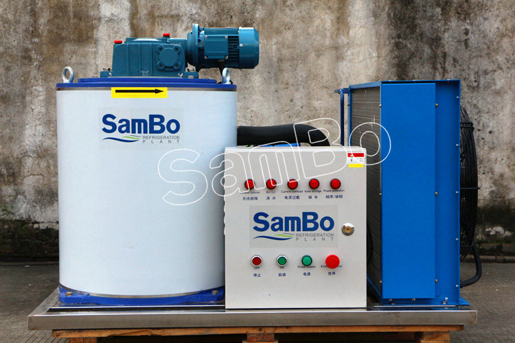 SamBo Commercial Supermarket Used Small 1 Tonne Ice Flake Maker Machine With Ice Bin For Sale
