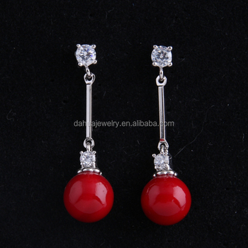Shell Pearl Earrings Red Coral Earrings Red Bridal Earrings