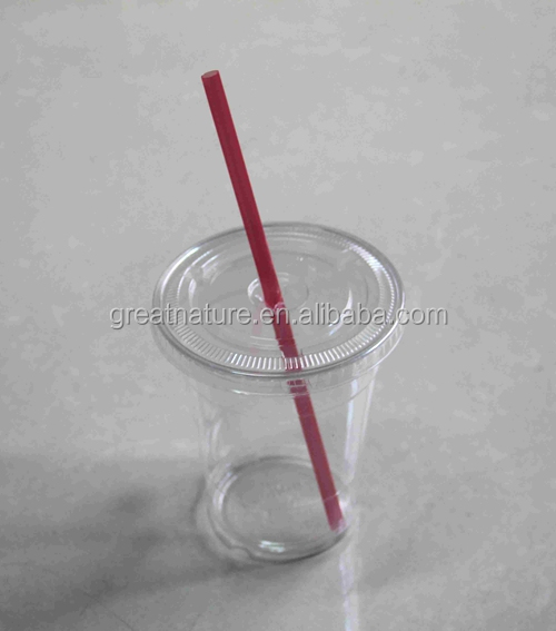 Clear plastic cup with lid and straw