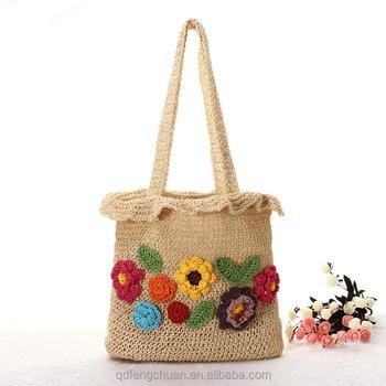 Alibaba China paper straw crochet beautiful flowers cheap ladies fashion  handbags