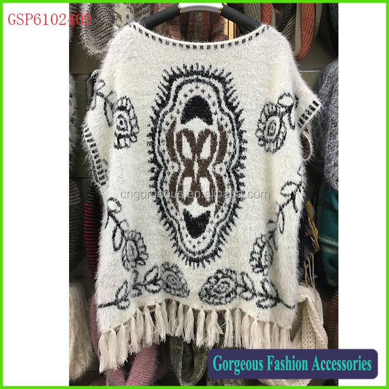 Latest new design ladies fashion fringe tassel poncho sweater