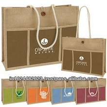 JUTE GROCERY BAG WITH ROPE HANDLE