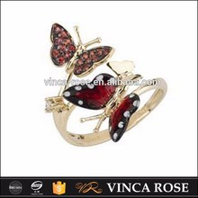 movable butterfly ring colorful enamel jewelry 925 silver finger ring for women