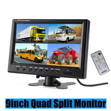 3U-80128 9 Inch TFT LCD Car Monitor Headrest Display Support 4 Split Screen For Rear Camera DVD VCR With Remote Control