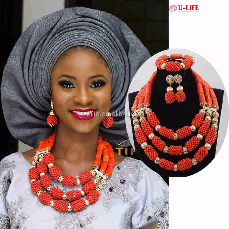 High Quality African Wedding Coral Beads Jewelry Set for Bridal