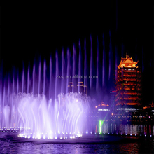 Large artificial music dancing colorful led lights water screen fountain